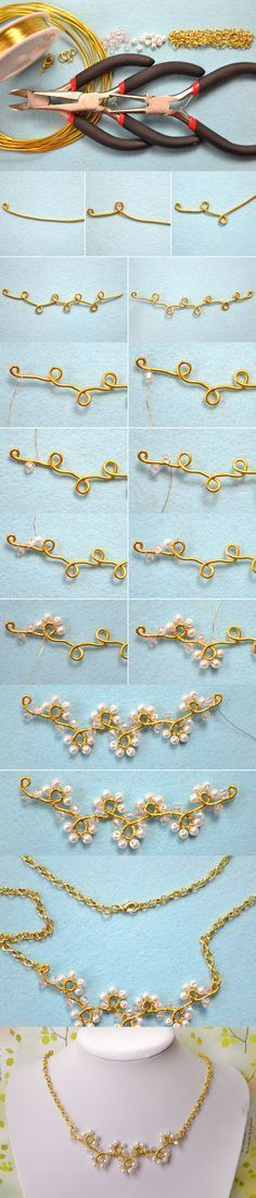 Spring Jewelry Design on How to Make a Wire Flower Vine Necklace with Beads from LC.Pandahall.com #Wire #Jewelry #Tutorials