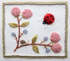 Ladybug and Flowers Stumpwork Embroidery by flossbox, via Flickr