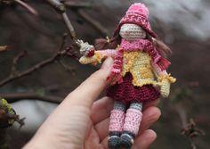Girl and robin bird. Crochet art doll miniature by FancyKnittles