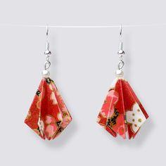 Origami Flower Drop Earrings - HZ280 Dangly Earrings, Drop Earrings, Origami Artist, Origami Flowers, Japanese Paper, Blooming Flowers, Handmade Accessories, Great Gifts, Pearls