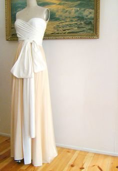 Cameo Nude Sheer with Magnolia Ivory Double Layer Octopus Convertible Wrap Gown. $149.99, via Etsy.