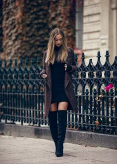 277295b9d819 Mini length balck long sleeved bodycon dress with knee high suede boots and  a molted coat