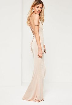 Refresh your wardrobe in time for the party season with this nude maxi dress - featuring cross back detailing and a cowl front.
