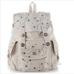 Newly Black #Fashional Hand-painted #Cartoon Canvas Backpacks for #Girls