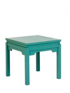 Nanjing Painted Oriental Aged Teal Green Side Lamp Table