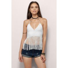 Tobi Desert Child Crochet Crop Top ($28) ❤ liked on Polyvore featuring tops, white, fringe top, white top, white crop top, crochet top and white crochet top