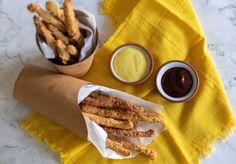 Vegan Chicken Fries (seitan fries) — 86 Eats Seitan Chicken, Fried Chicken, Turkey Lunch Meat Recipe, Healthy Dinner Recipes, Vegan Recipes, Fries, Sliced Roast Beef, Chicken On A Stick, Vegane Rezepte
