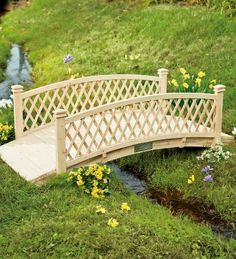 Curved Canadian Cedar Bridge with Railings and Latticework Sides Patio, Lawn & Garden Garden Structures, Garden Paths, Lawn And Garden, Outdoor Structures, Garden Pond, Pond Bridge, Garden Bridge, Outdoor Projects, Garden Projects