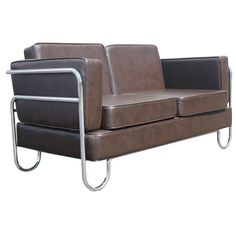 Art Deco PEL Tubular Chrome And Leather Sofa Settee   From a unique collection of antique and modern settees at http://www.1stdibs.com/furniture/seating/settees/
