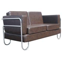Art Deco PEL Tubular Chrome And Leather Sofa Settee