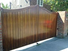 Arch top timber gate fitted with automated electromechanical rams installed by us in North Yorkshire Timber Gates, North Yorkshire, Arch, Outdoor Decor, House Ideas, Home Decor, Wooden Gates, Homemade Home Decor, Bow