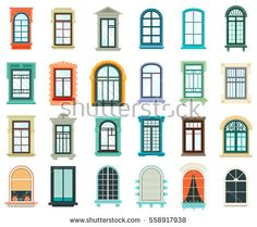 Retro wood or wooden window frames view isolated on house wall. Detailed plastic window with curtains or pot isolated. Architecture design outdoor or exterior view, building and home theme Wooden Window Frames, Wooden Windows, Arched Windows, Frames On Wall, House Windows, House Window Design, Roof Beam, House Template, Home Themes