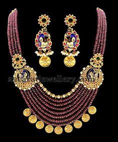Jewellery Designs: Ruby Beads Haram Kundan Earrings
