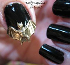Victorian Brass Bat Nail Art