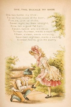 Nursery Rhyme And Ilration Of One Two Buckle My Shoe From Old Mother Gooses Rhymes Tales Ilrated By Constance Haslewood Published Frederick
