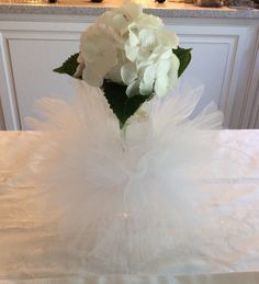 White Tutu pouf centerpiece ring for Bridal Shower, Baby Shower or Wedding by LillyJake on Etsy