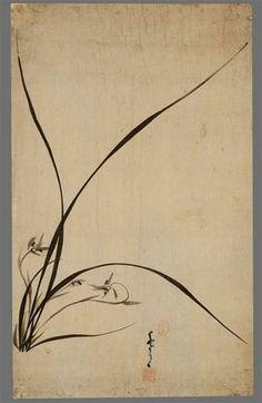 임희지필 묵란도 林熙之筆墨蘭圖. 시대: 조선(朝鮮). 재질: 지(紙). 작가: 임희지. 크기: 세로 62.5cm 가로 38.5cm. National Museum of Korea