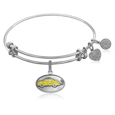 Expandable Bangle in White Tone Brass with Phoebes Taxi Symbol