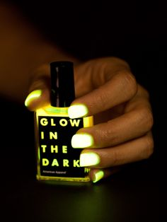 Get your glow on. with nail polish! - Move over Einstein, we have a new genius in town: American Apparel Glow in the Dark Nail Polish! Rarely do nails look better when the lights are off, but Dark Nail Polish, Dark Nails, Polish Nails, Nail Polishes, Cute Nails, Pretty Nails, Hair And Nails, My Nails, Finger