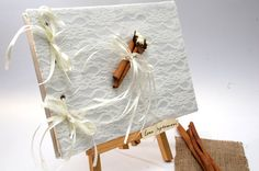 Wedding Guest Book with Lace and Cinnamons- Romantic Weddings My Greek Wedding, Wedding Guest Book, Gift Wrapping, Guest Books, Weeding, Unique Jewelry, Lace, Handmade Gifts, Romance