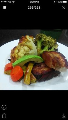 Oven Roasted Pork Belly with Avocado and Roast Vegetables.