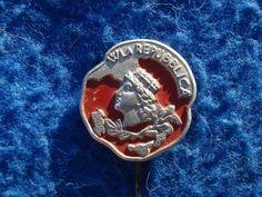 DISTINTIVO W LA REPUBBLICA DOPO GUERRA 1946 ELEZIONI POLITICA R.I. ITALIA BADGE