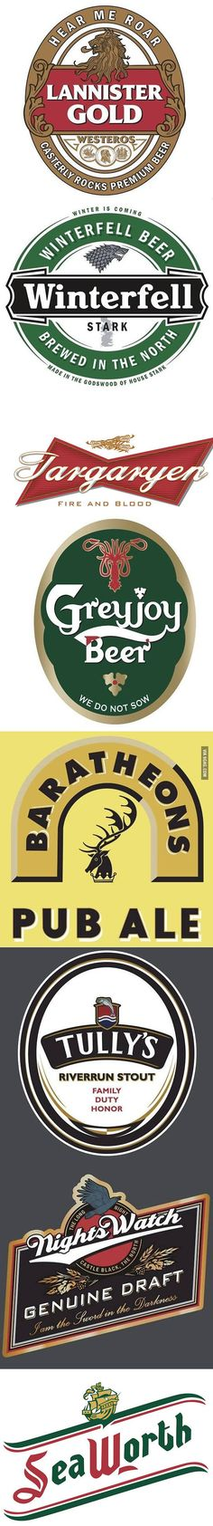 And if Game of Thrones' Houses WERE BEER?