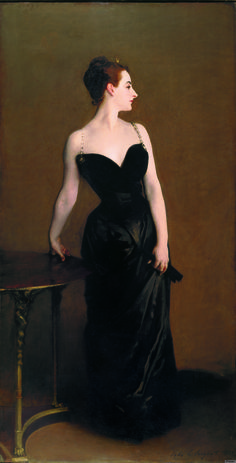 "John Singer Sargent's ""Madame X (Madame Pierre Gautreau)"" (1884) - ""Originally, Sargent painted the strap on her right shoulder hanging down. This was seen as sexually suggestive and considered outrageous."""