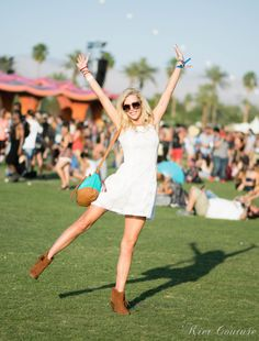 Coachella-white dress and teal bucket bag