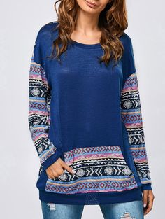 Kangaroo Pocket Tribal Pattern Sweatshirt in Navy Blue | Sammydress.com