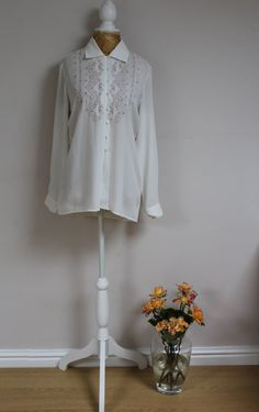 Vintage ivory sheer blouse shirt size 8 with by BebopBoutiqueuk