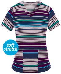 Find stretch scrubs in various prints, like the Easy STRETCH Mad About Stripes Navy Print Scrub Top. Shop at UA for the Easy Stretch by Butter-Soft collection!