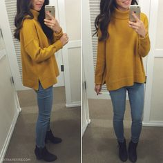 casual fall outfit idea - slouchy cozy mustard sweater + skinny jeans + booties #loft