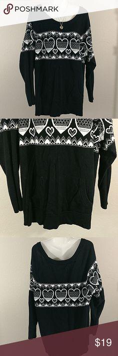 Torrid Heart Sweater With Pocket Black with white hearts Torrid Size 3 Torrid Tops Sweatshirts & Hoodies