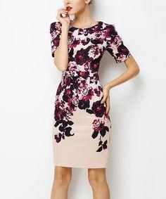 Look at this #zulilyfind! Purple & Cream Floral Sheath Dress #zulilyfinds