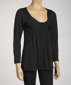 This Black Pleated Long-Sleeve Top by Simply Irresistible is perfect! #zulilyfinds