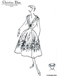 "Dior ""Muguet line"" spring/summer 1954 Dior Fashion, Fashion Art, Vintage Fashion, Fashion Tips, Womens Fashion, Couture Christian Dior, Illustration Mode, Dior Dress, Dress Sketches"