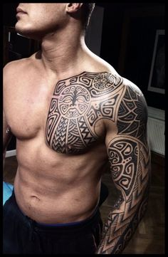 ▷ 1001 + ideas and pictures about Maori tattoo and his b .- ▷ 1001 + Ideen und Bilder zum Thema Maori Tattoo und seine Bedeutung a young man with one hand with a black large maori tattoo and with a small black monster with white eyes - Flame Tattoos, Body Art Tattoos, Tribal Tattoos, Sleeve Tattoos, Maori Tattoos, Borneo Tattoos, Male Tattoo, Cross Tattoos, Tatoos