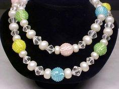Vintage 2-Strand Pastel/Faceted Lucite Beads Necklace #StrandString
