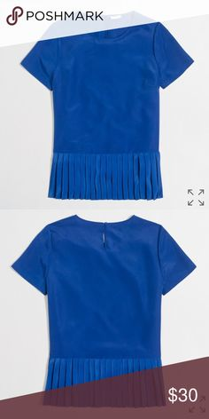 J. Crew Pleated Hem Shirt Perfect for work, just too big. I ordered it online and it was final sale. Love the color & a great material! Never worn, new with tags! J. Crew Factory Tops Blouses