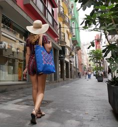 """The tote bag is designed to hold all your daily essentials including a laptop up to 15"""". #giftforher #laptopbag #holidaygift Laptop Tote Bag, Rainy Season, Digital Nomad, Electric Blue, Tokyo, Shirt Dress, Blue Patterns, Stylish, Essentials"""