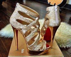 Hot gold high heels ...