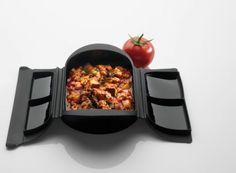 Salsa de tomate, carne picada y berenjena en el microondas y receta..