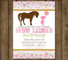 Horse Birthday Invitation, Pony Invitation, Girl Birthday Invite, Floral, Pony, Vintage, Glitter and Lace, Digital File Printable DIY Invite by andyneal331 on Etsy https://www.etsy.com/listing/229732661/horse-birthday-invitation-pony