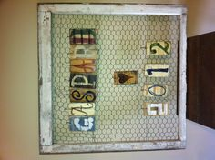 Old frame, chicken wire, wooden letters and some love :) So cute!