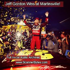 Jeff pulled off a huge win at Martinsville and punched his ticket to the final championship round in Miami-Homestead in 3 weeks!  Listen to the winning moment again in this week's in-car audio clip! #jeffgordon #nascar #martinsville