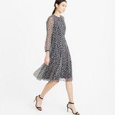 """A floaty cheetah-print chiffon dress in a fit-and-flare silhouette = 100 percent twirl-worthy.<ul><li>Falls above knee, 39"""" from high point of shoulder (based on size 6).</li><li>Silk.</li><li>Back zip.</li><li>Lined.</li><li>Dry clean.</li><li>Import.</li></ul>"""