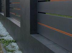 Front Gate Design, Main Gate Design, House Gate Design, Backyard Fences, Backyard Landscaping, Modern Fence Design, Compound Wall, Sliding Gate, Pivot Doors