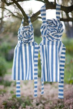Mommy/Daughter French Blue Striped Apron from Costa Kitchen Blog.
