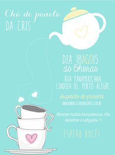 Convite para chá de panela, chá de cozinha, chá de casa nova. #chá #chádepanela #chádecozinha #convitechá #showerbride